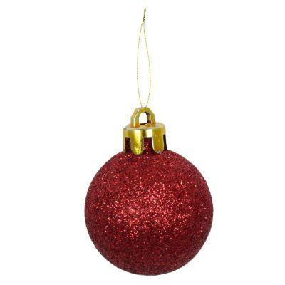 Set 24 esferas 4 cm rojo glitter