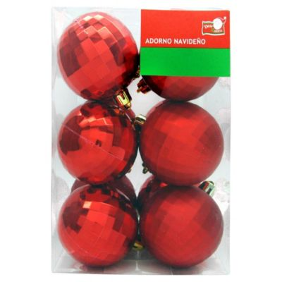 Set de 12 esferas 6 cm roja diamante