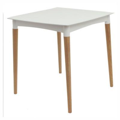 Mesa de exterior Diana de madera y plástico blanca