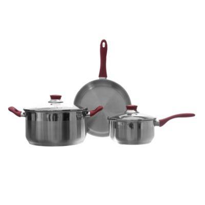 Batería de cocina de acero inóxidable 5 piezas roja