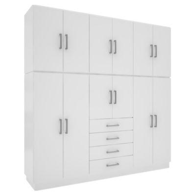 Placard 12 puertas con 4 cajones blanco
