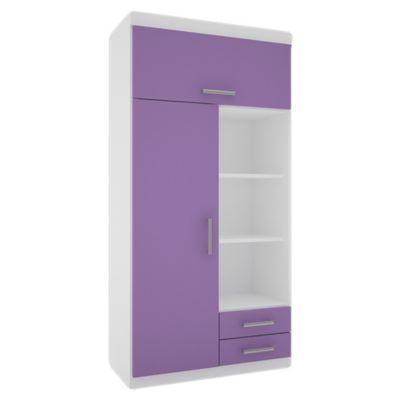 Placard juvenil 2 puertas con 2 cajones blanco y lila