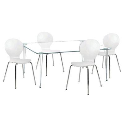 Combo Mesa de Vidrio 120 cm + 4 sillas Jackobsen blancas