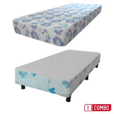 Combo Colchón  de Espuma de 1 plaza + sommier de tela sábana 1 plazas