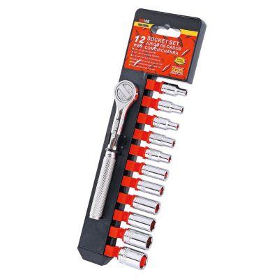 """Kit de llaves + tubos 1/4"""" 12 piezas"""