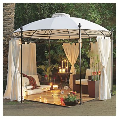 P rgola redonda con cortinas just home collection 1020528 - Pergolas con cortinas ...