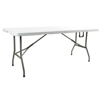 Mesa de exterior plegable 180 cm de plástico y acero blanca