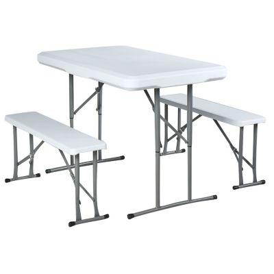 Set de mesa plegable + 2 banquetas de plástico y acero blanca