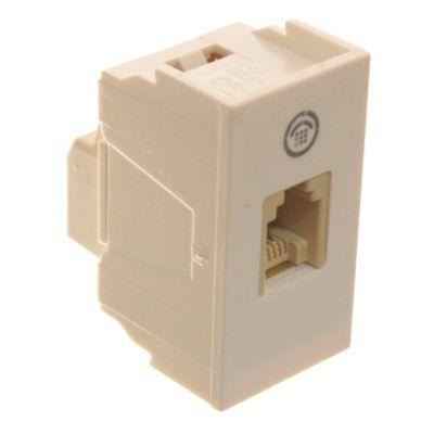 Módulo 1 tomacorriente telefónico blanco