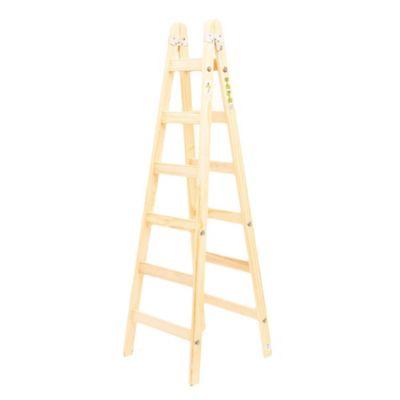 Escalera recta madera 6 escalones