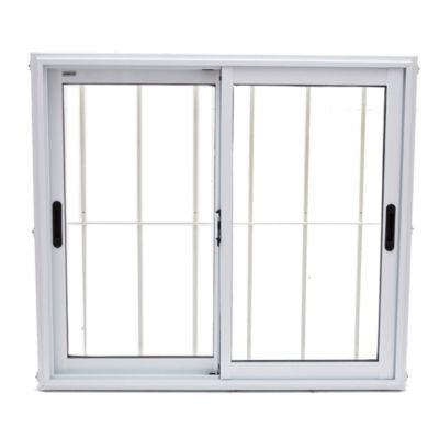 Ventana de aluminio 100 x 90 cm  blanca con reja