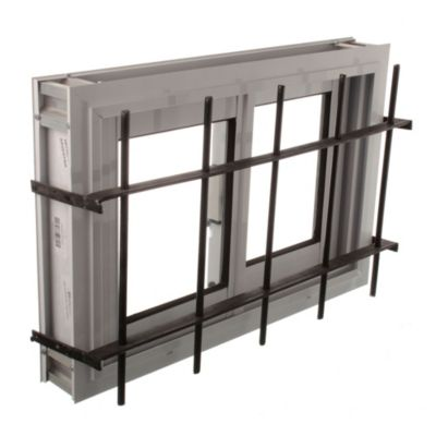 Ventana de aluminio   60 x 40 cm blanca con reja