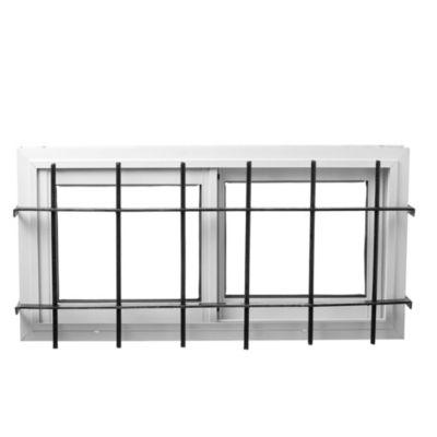 Ventana de aluminio   80 x 40 cm  blanca con reja