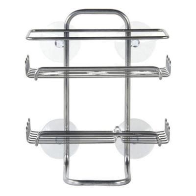 Canasto ducha 2 repisas cromado succión