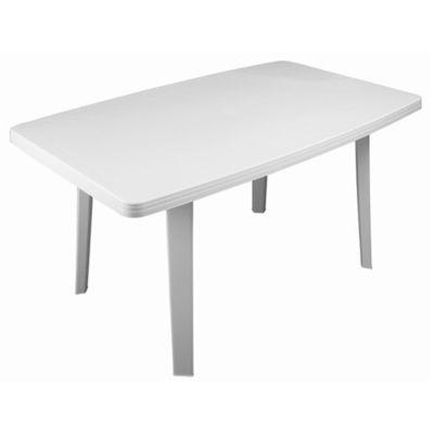 Mesa de exterior Florencia de madera y aluminio blanca