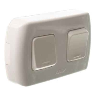 Caja superficie interruptor 2 puntos blanco