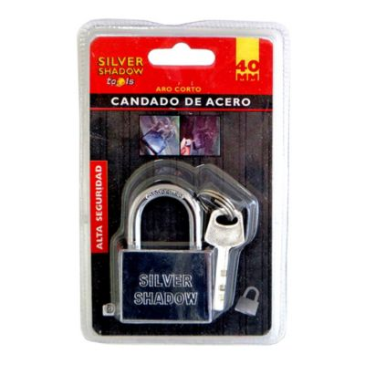 Candado acero inoxidable 40 mm Aro corto 3 llaves