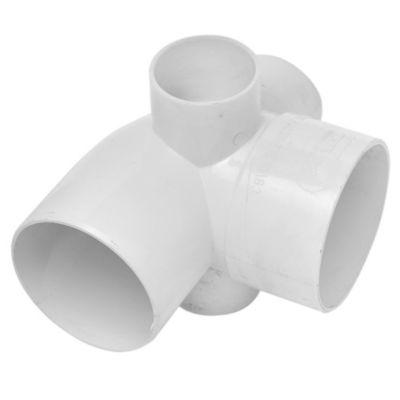 Codo con 3 entradas de PVC de 110 mm mh