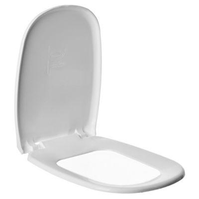 Asiento para inodoro Universal rectangular de plástico blanco