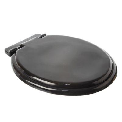 Asiento para inodoro liviano plástico negro con herrajes plásticos