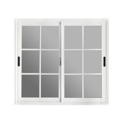 Ventana balcón aluminio blanca vidrio repartido 150 x 200 x 10 cm