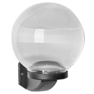 Aplique de pared para exterior una luz plástico globo prisma negro 20 cm E27 ip44