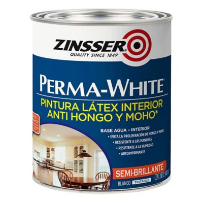 Pintura látex interior Perma-White antihongos satinado blanco 1 L