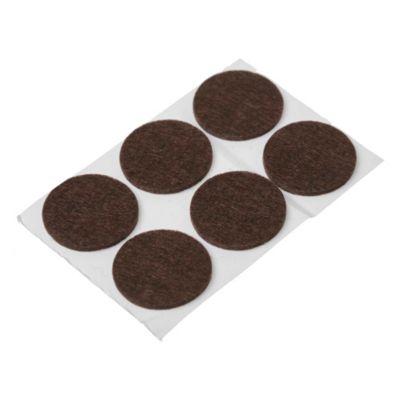Fieltro adhesivo circular 32 mm marrón por 6 u