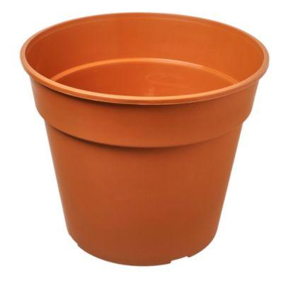 Maceta circular de plástico marrón claro