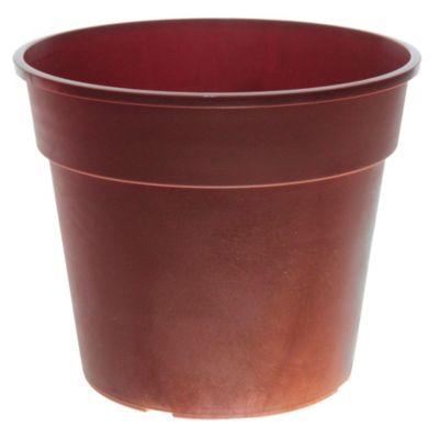 Maceta circular de plástico marrón oscuro