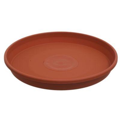 Plato para macetas de plástico marrón oscuro