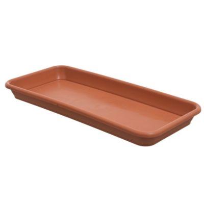 Plato para macetas de plástico marrón claro