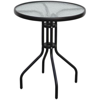 Mesa redonda caño y vidrio 60cm negra