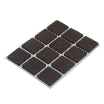 Fieltro adhesivo cuadrado 22 mm marrón por 12 u