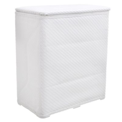 Cesto de ropa de plástico blanco