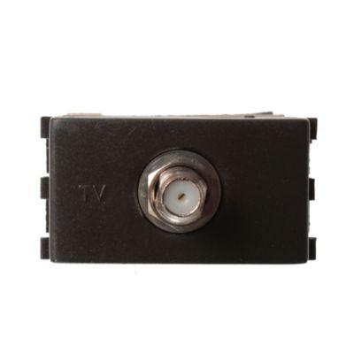 Módulo 1 tomacorriente TV - caTV negro