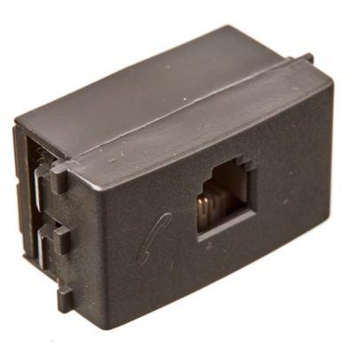 Módulo 1 tomacorriente telefónico negro