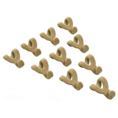 Set 10 miniganchos para colgar terciopelo beige