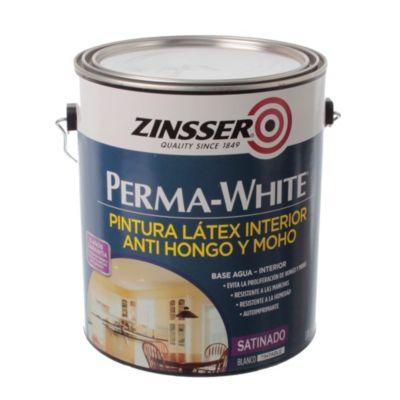 Pintura látex interior anthongos satinado permawhite blanco 3.785 l