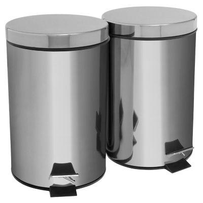 Set de 2 cestos de basura de acero inoxidable 7 l