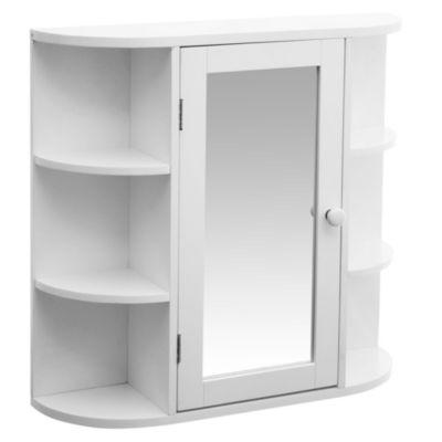 Botiquín para baño con espejo y 2 estantes internos 35 x 64 cm