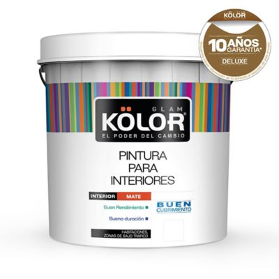 Pintura látex interior mate super lavable deluxe blanco 20 L