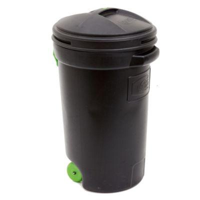 Cesto de basura plástico con ruedas 125 l negro