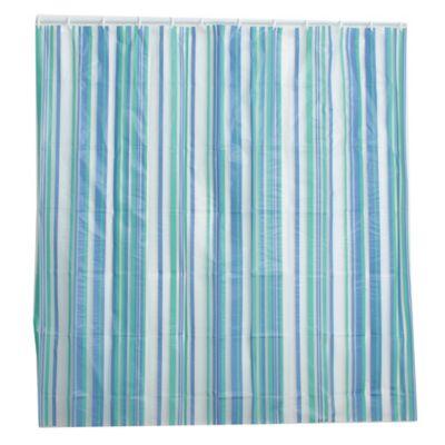 Cortina de baño de PVC azul
