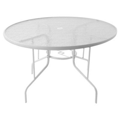 Mesa de exterior 120 cm de acero y vidrio templado blanca
