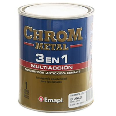 Esmalte chrom metal 3 en 1 blanco 1 L