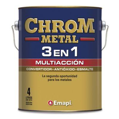 Esmalte chrom metal 3 en 1 negro 4 L