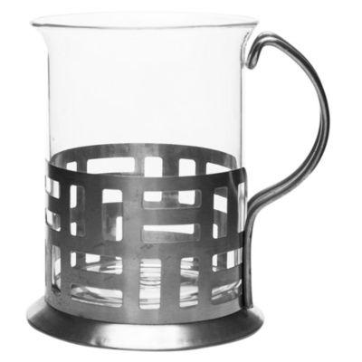 Jarro café vidrio con base de acero
