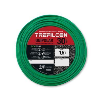 Cable unipolar 1.5 mm2 verde y amarillo 30 m