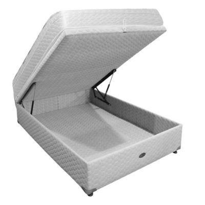 Sommier y Colchón de Resortes Springwall 303 con Refuerzo Lumbar y Base Baulera 090x190 cm